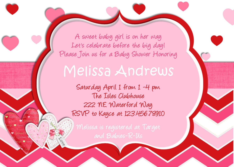 Hearts Valentine Baby Shower Invitation Hearts You Print Digital