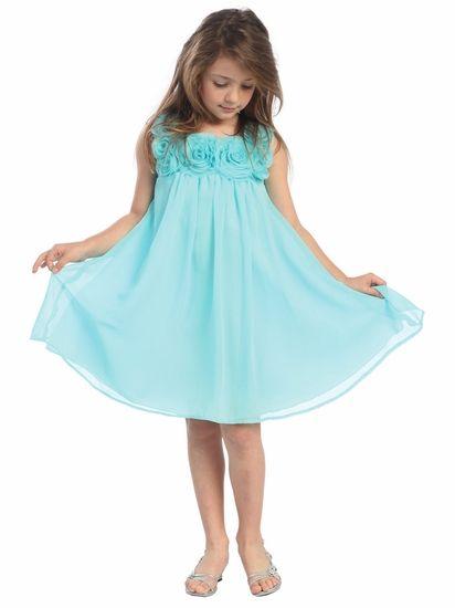 Aqua Yoryu Chiffon Dress w/Rose Buds