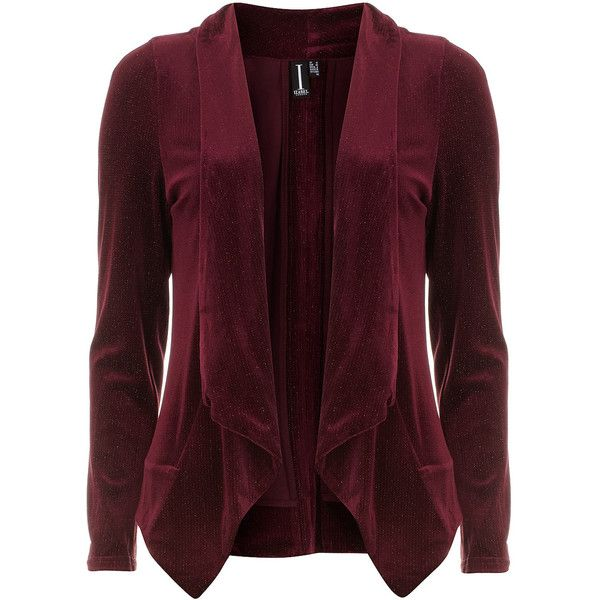 Dorothy Perkins Burgundy flecked velvet blazer (€33) ❤ liked on Polyvore featuring outerwear, jackets, blazers, blazer, cardigans, tops, red, red velvet blazer, purple blazer jacket and purple velvet jacket