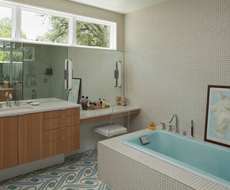 Mid century bathroom tile mid century modern ranch home for Mid century modern bathroom design