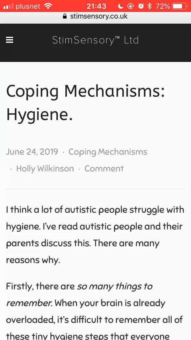 New blog post: coping mechanisms: hygiene
