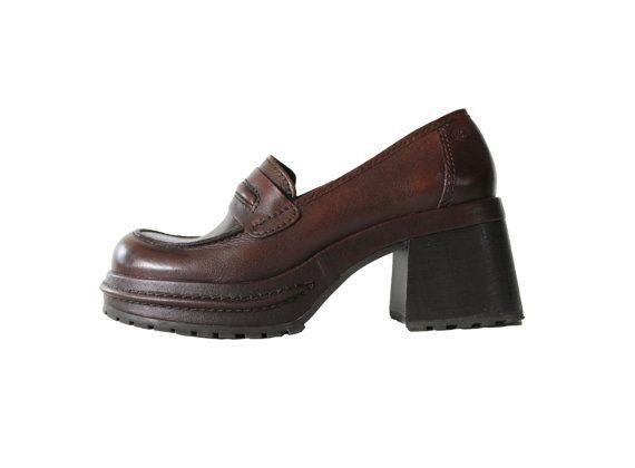 a1956bca14313 Brown Leather Platform Penny Loafers 90s Vintage Hipster Grunge ...