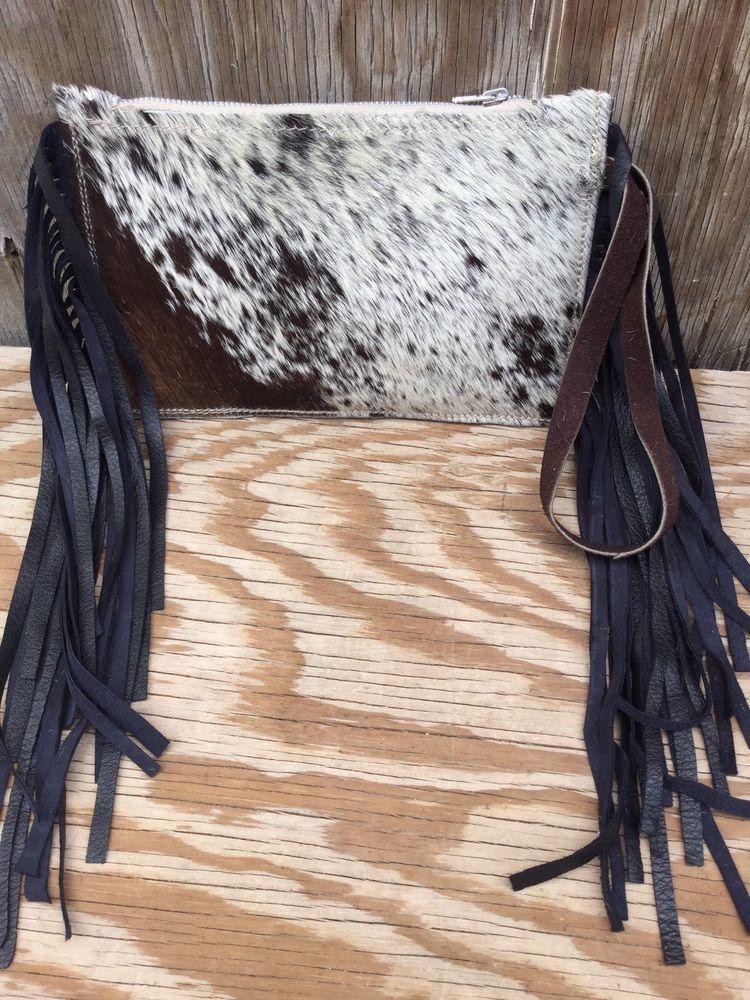 Western Brindle Cowhide Leather Clutch Wristlet RODEO Purse w// PINK Fringe BK5
