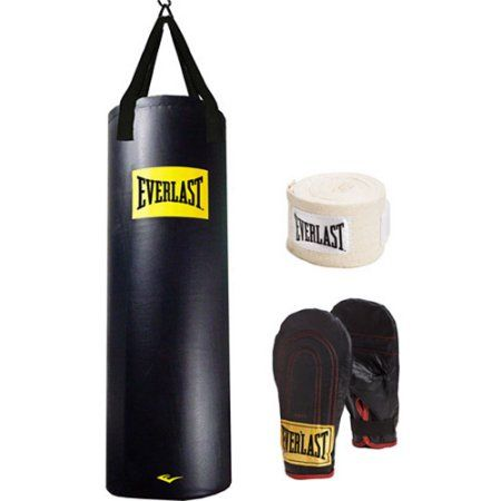NEW Everlast 70 lb Platinum Heavy Bag Kit Boxing Gloves Speed Hand Wraps Gym