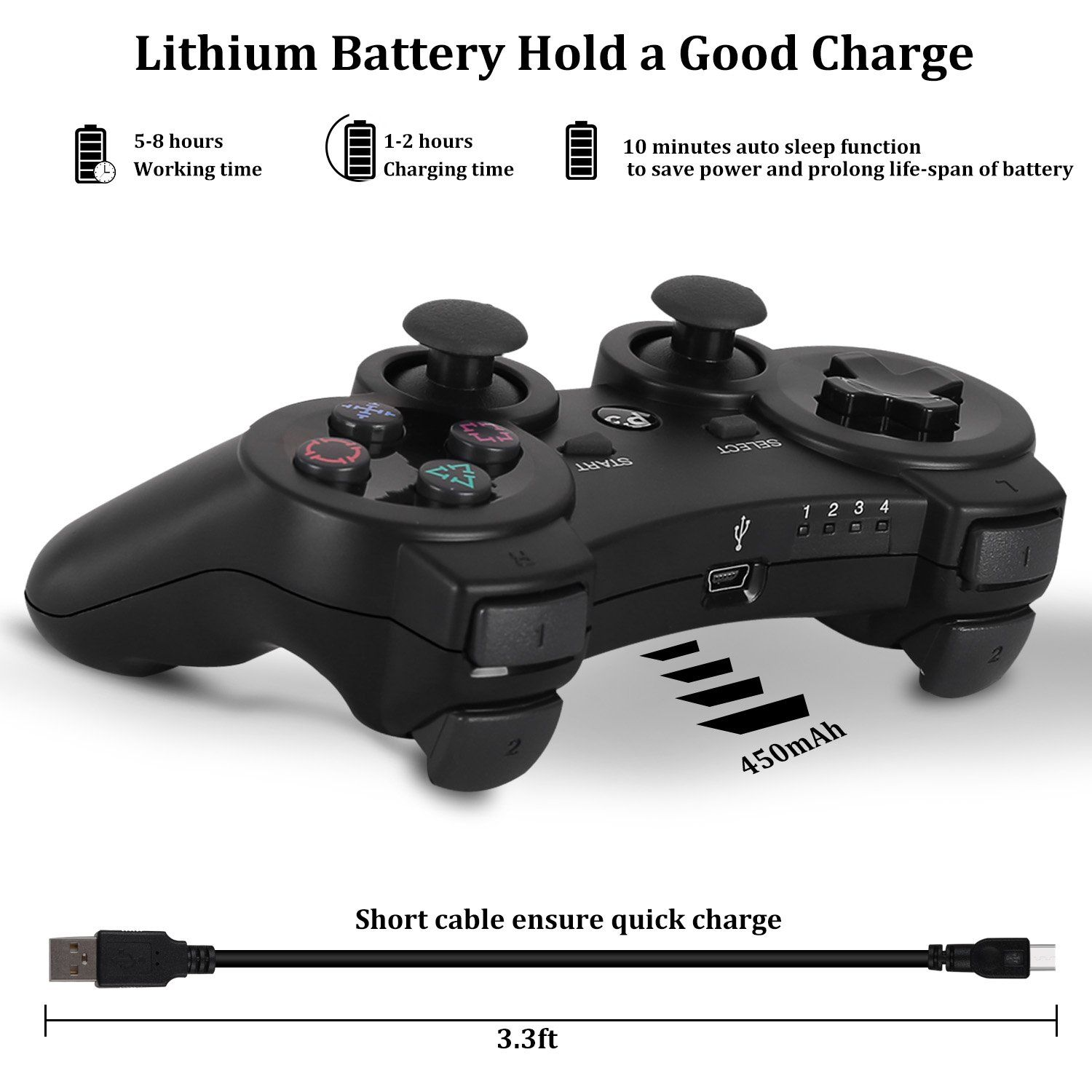 Yu33 Ps3 Controller Wireless 2 Pack Dualshock 3 Games Remote For Playstation 3 Cheap Ds3 Joystick With Sixaxis Mini Game Remote Ps3 Controller Best Ps3 Games