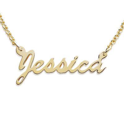 18k Gold Plate Script Name Necklace 12 Letters Zales Want With My Name Name Necklace Gold Name Necklace Necklace