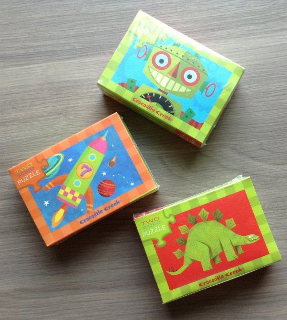 Crocodile Creek Two-Sided Puzzles: Robots. Dinosaurs, and Space
