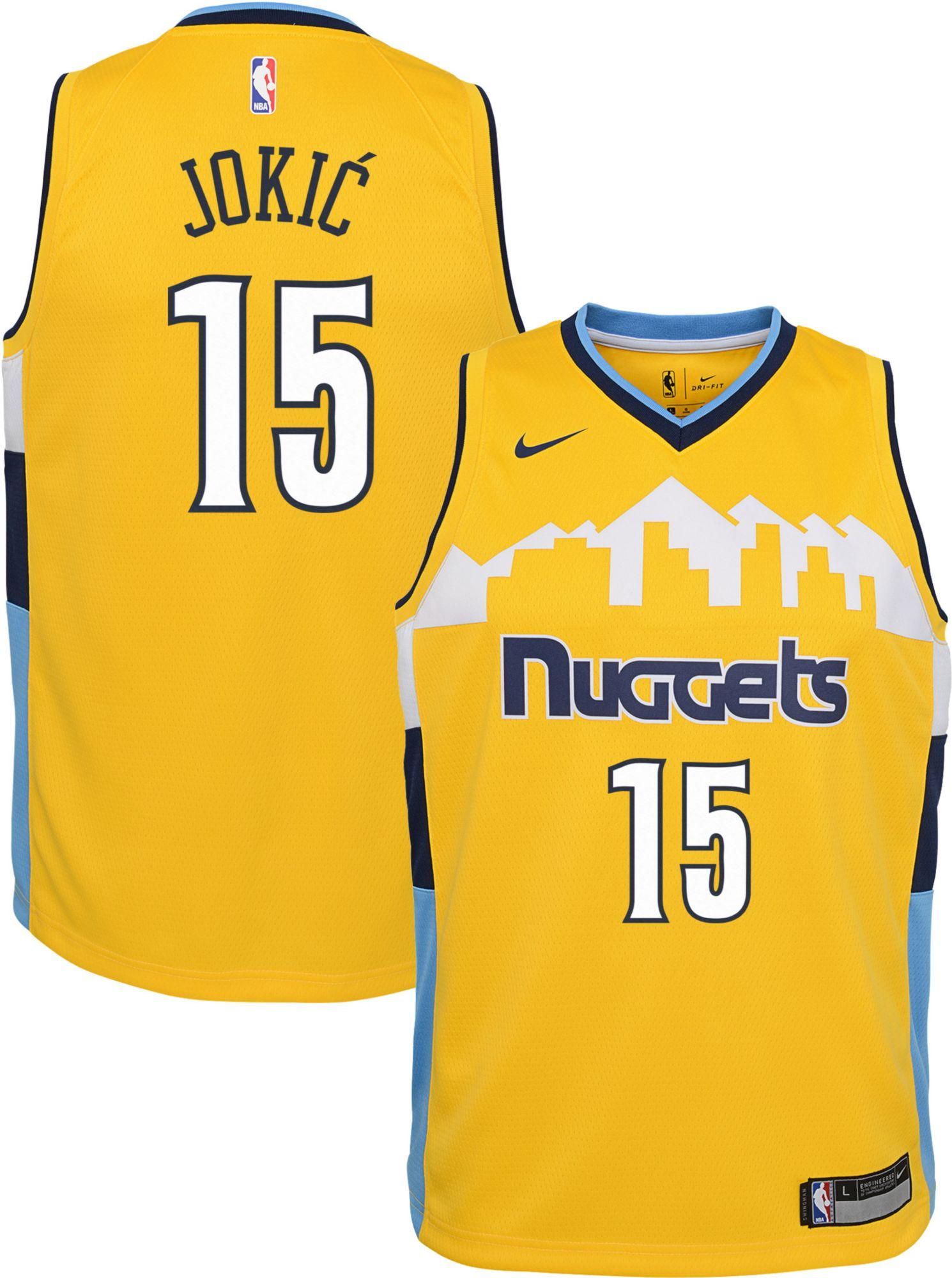 Nike Youth Denver Nuggets Nikola Jokic #15 Royal Dri FIT