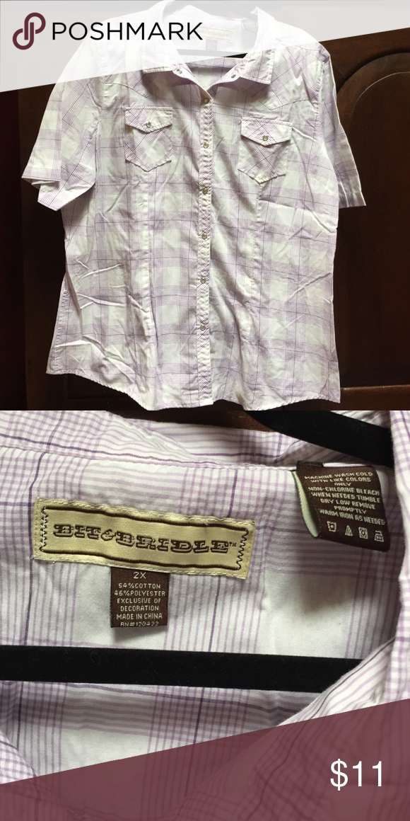 Bit & Bridle Western button down Cute! White, purple plaid with iridescent pearl snaps. Bit & Bridle Tops Button Down Shirts