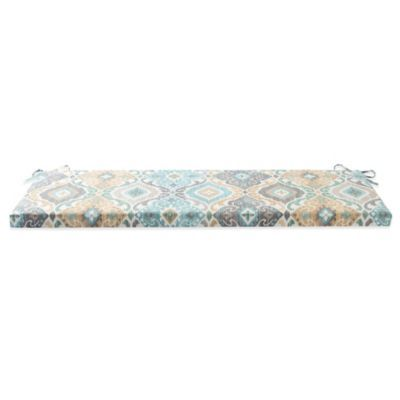Buy Outdoor Bench Cushion with Ties in Ikat Mist from Bed Bath