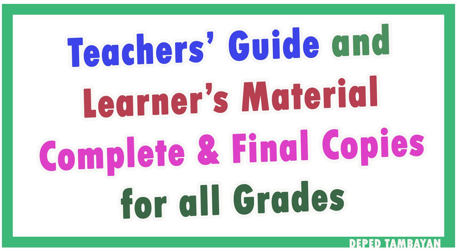 Download Complete Set of TG & LM for All Grades Download Set of K-12 ...
