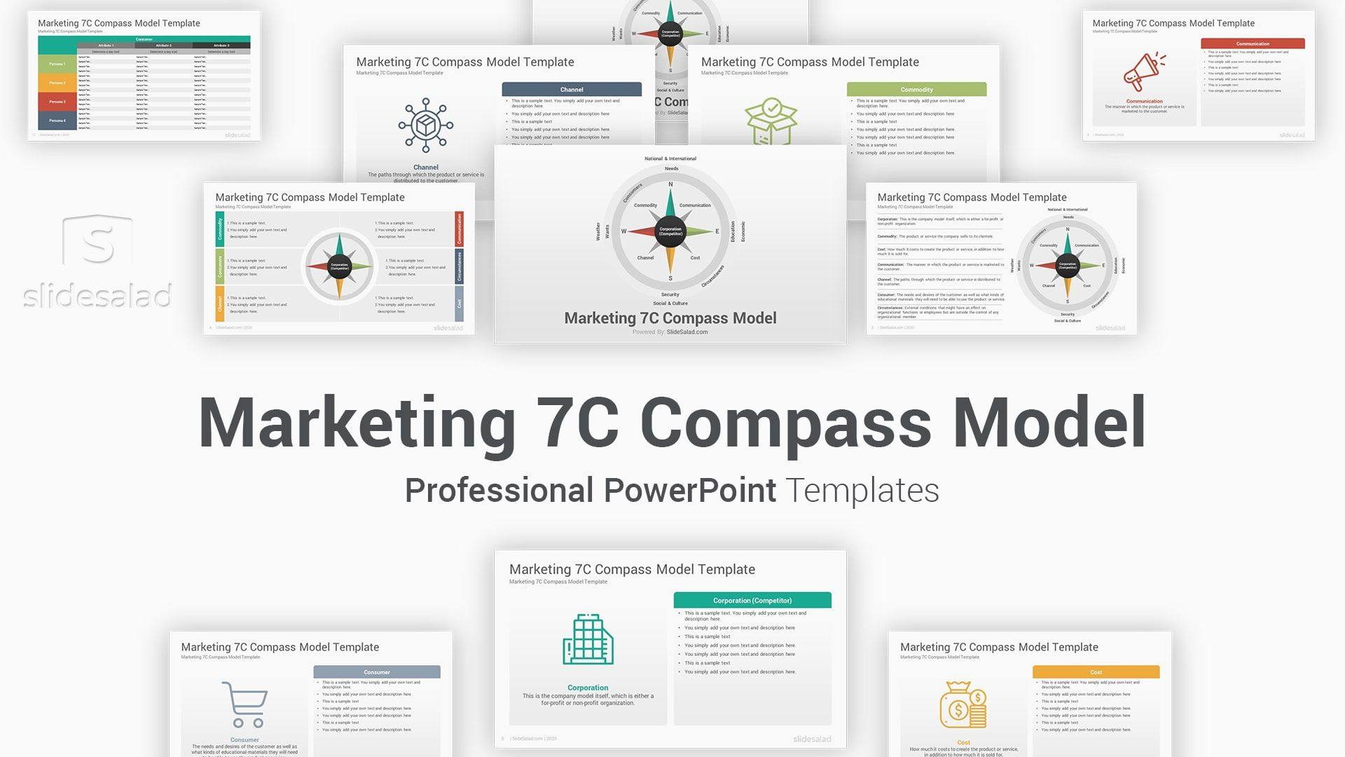 Marketing 7c Compass Model Powerpoint Template Diagrams