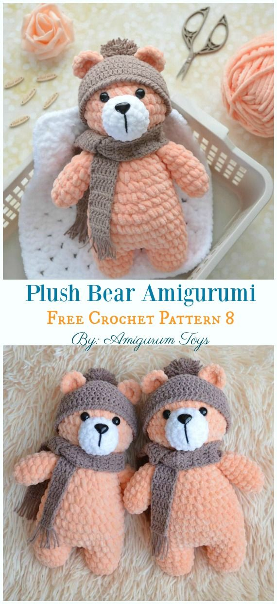 Free Amigurumi Bear Toy Softies Crochet Patterns #crochetpatterns