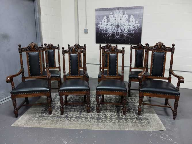 Antiquesdesign  Victorian Set  8 Quartered Oak R J Horner Custom Antique Dining Room Table And Chairs Design Decoration