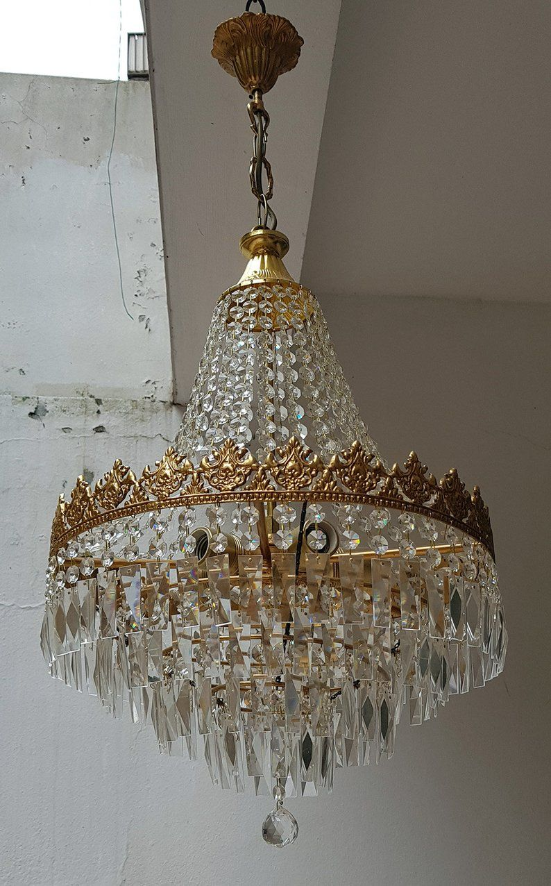 Antique Vintage French Empire Brass Crystals Large Chandelier