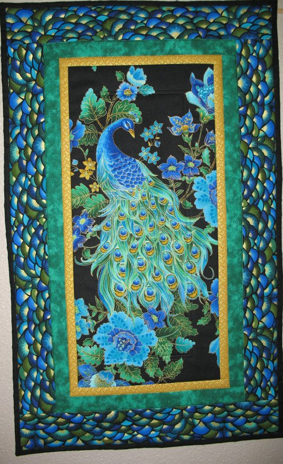 Home Treasures Quilting Patterns : Peacock Wall Art or Table Runner Quilted by PicketFenceFabric, USD 31.95 Home Decor Pinterest ...