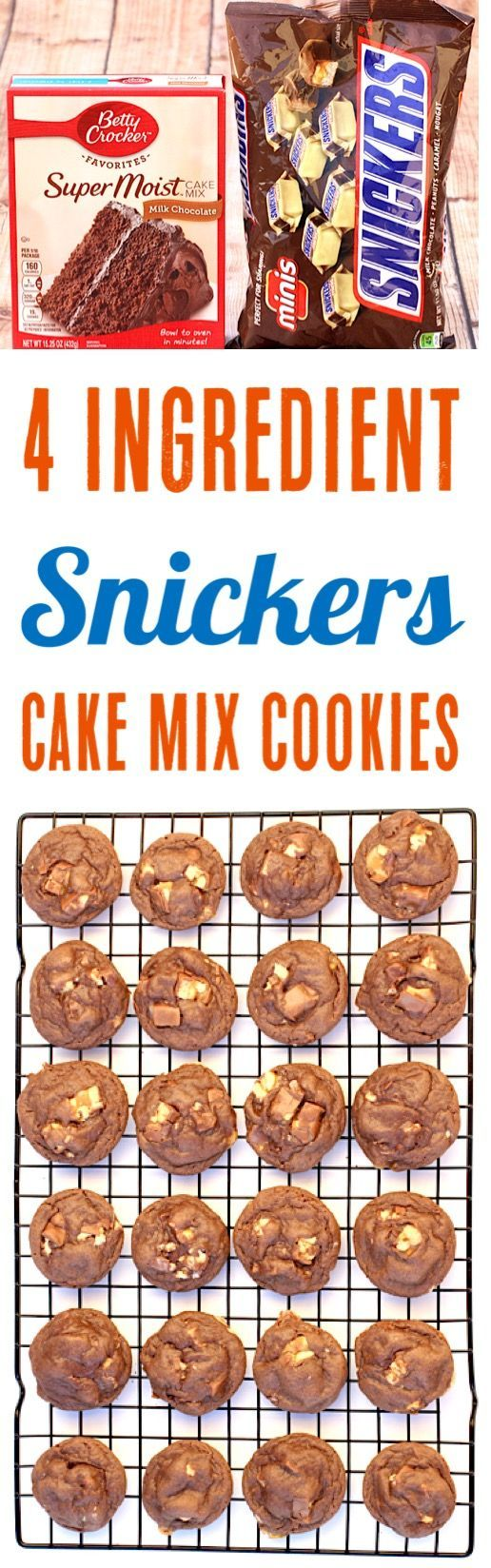 Snickers Cookies Recipes! Easy Chocolate Cake Mix Cookie Recipe using Snickers C... -