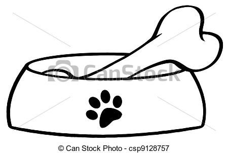 Dog Bone Vector Outlined Dog Bowl With Big Bone Stock