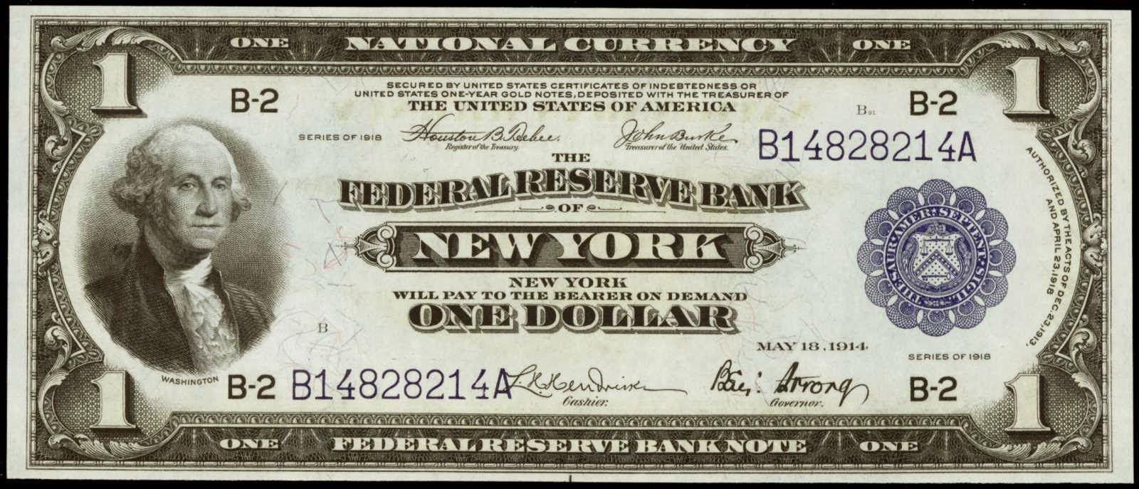United States Banknotes One Dollar Federal Reserve Bank Note Series 1918 New York Money Notes