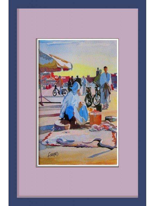 Vente tableau de peinture: ELFNA- technique: Aquarelle, de taille 36x24cm, de style: Réalisme, de prix 2850dhparFouad Khyad: artiste peintre marocain.