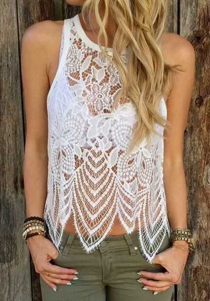 White Crochet Lace Sleeveless Cami Top