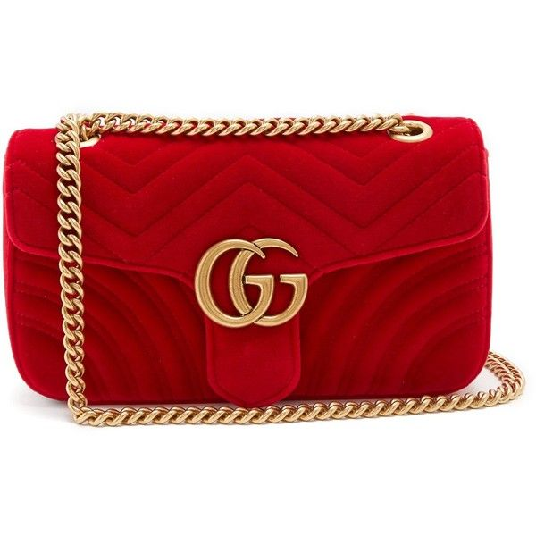 b8279812373d71 Gucci GG Marmont small quilted-velvet cross-body bag ($1,860) ❤ liked on  Polyvore featuring bags, handbags, shoulder bags, red, quilted crossbody  purse, ...