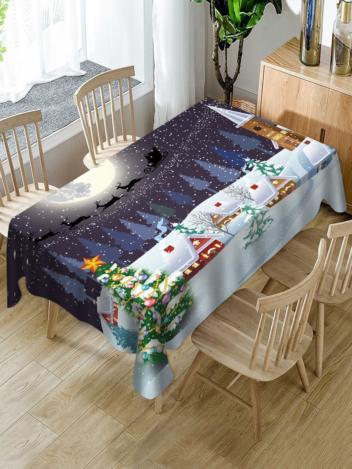 Christmas Snow Moon Night Print Fabric Waterproof Table Cloth
