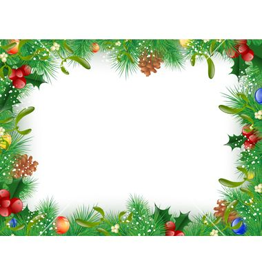 Christmas and new year frame vector on VectorStock | Rammer til ...