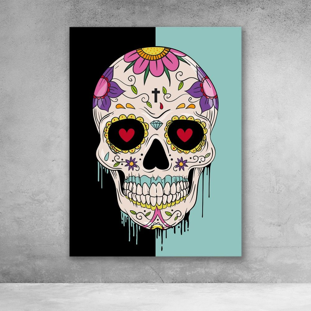 Sugar Skull Pop Graffiti Canvas Wall Art Sugar Skull Art Painting Skull Wall Art Skull Art Drawing