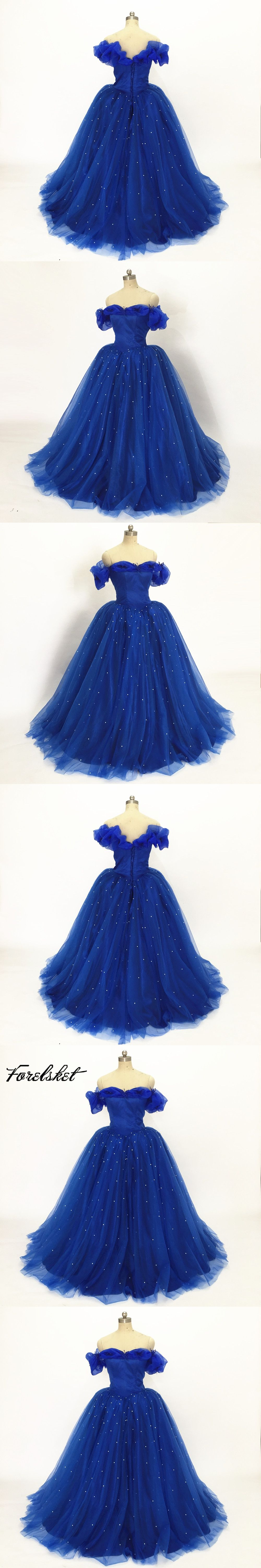 517719d7704 Ball Gown Cinderella Quinceanera Dresses blue Pink Princess Formal Long  Party Gowns Off Shoulder 3D Flowers Real Photos
