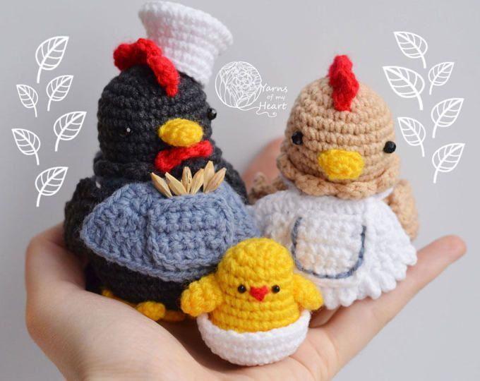 Digital Pattern Crochet Chicken Crochet Eggs Crochet Hen Rooster