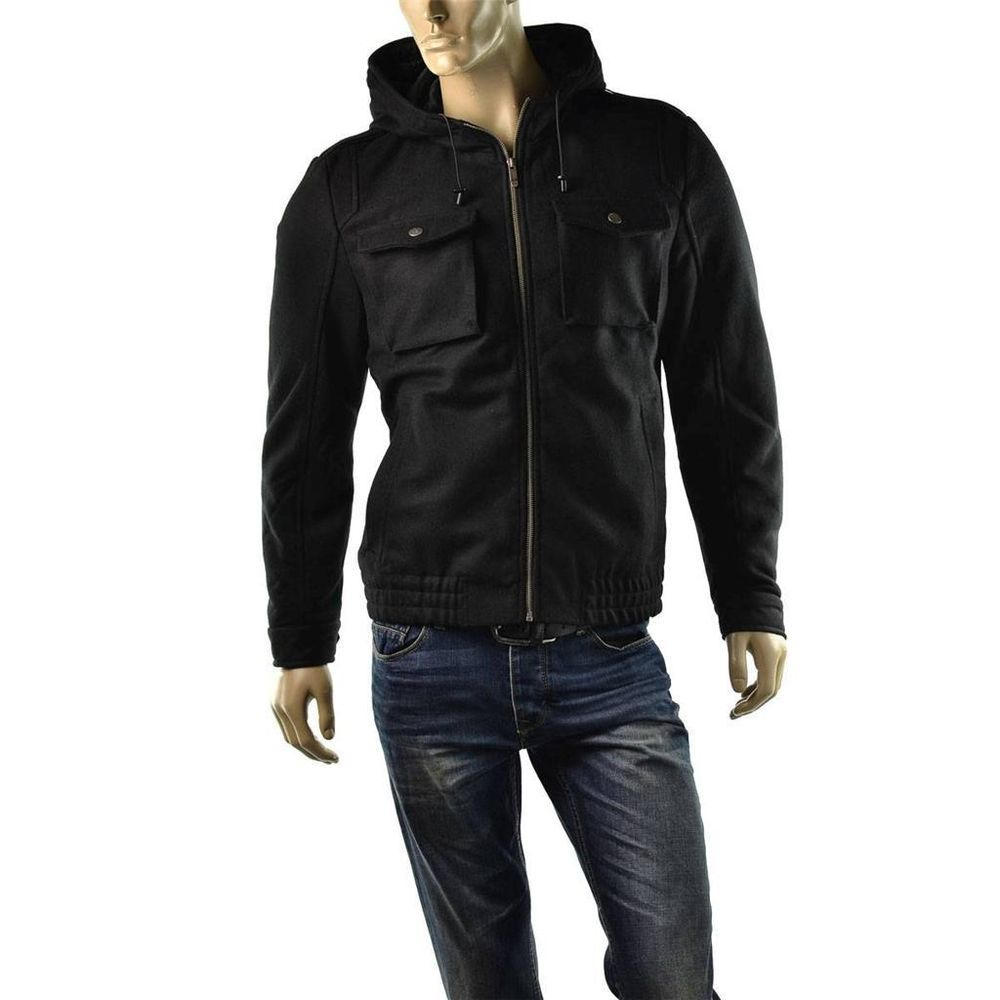 Guess Jacket Mens Adam Hooded Military Short Wool Utility