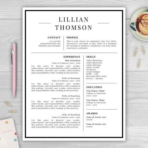 Professional Resume Template for Word  Pages CV Template Resume