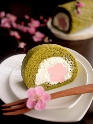Matcha Swiss Roll with a Rare Strawberry Cheese Filling