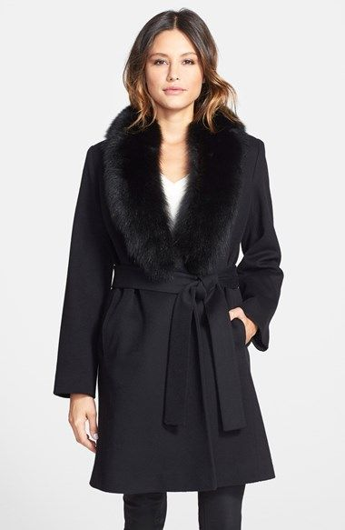 Oh to have a fancy party to go to…….Fleurette Loro Piana Wool Wrap Coat with Genuine Fox Fur Collar available at #Nordstrom