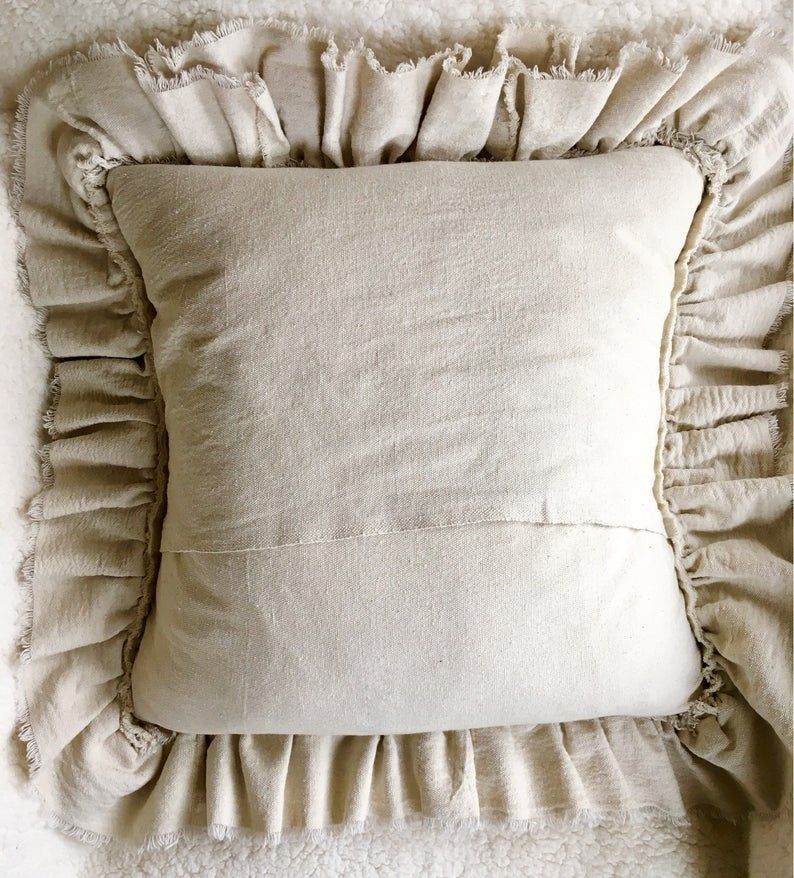 Custom Pillow Cover with Rustic Ruffles,Heart Pillow,French Country Bedding,Boho Decor,Farmhouse bedding,Wedding Gift Ideas#beddingboho #beddingwedding #country #cover #custom #decorfarmhouse #gift #ideas #pillow #pillowfrench #rufflesheart #rustic