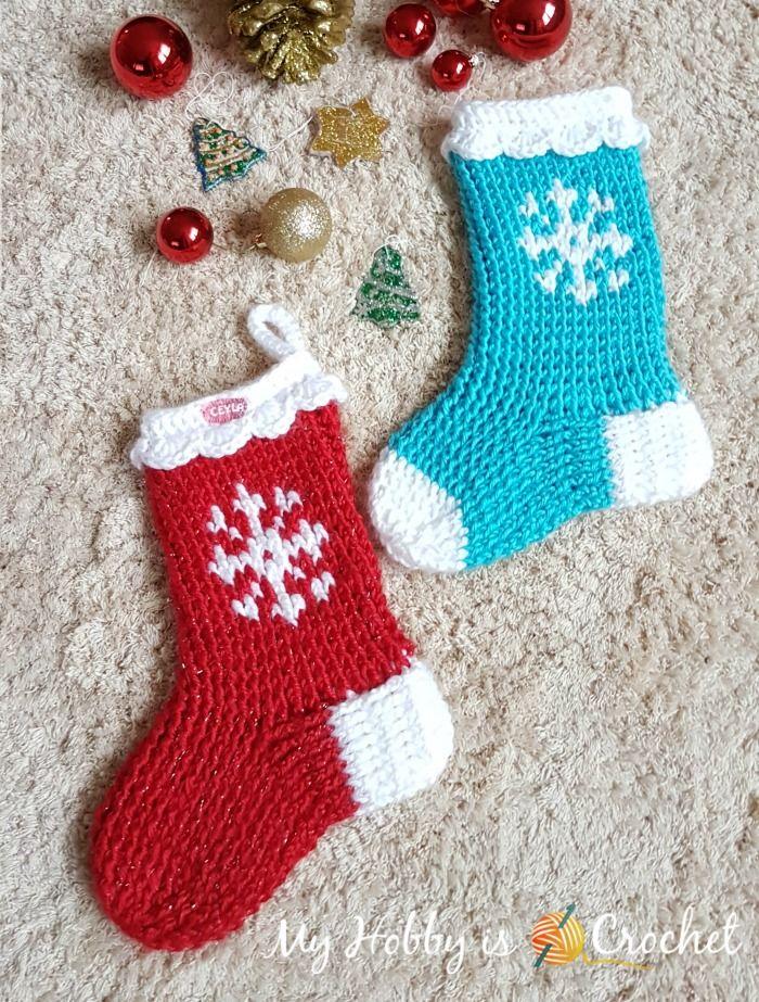 Snowflake Christmas Stocking or Slipper Boots - Free Crochet Pattern ...