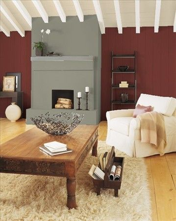 Arroyo red accent wall in living room color grey - Accent colors for beige living room ...