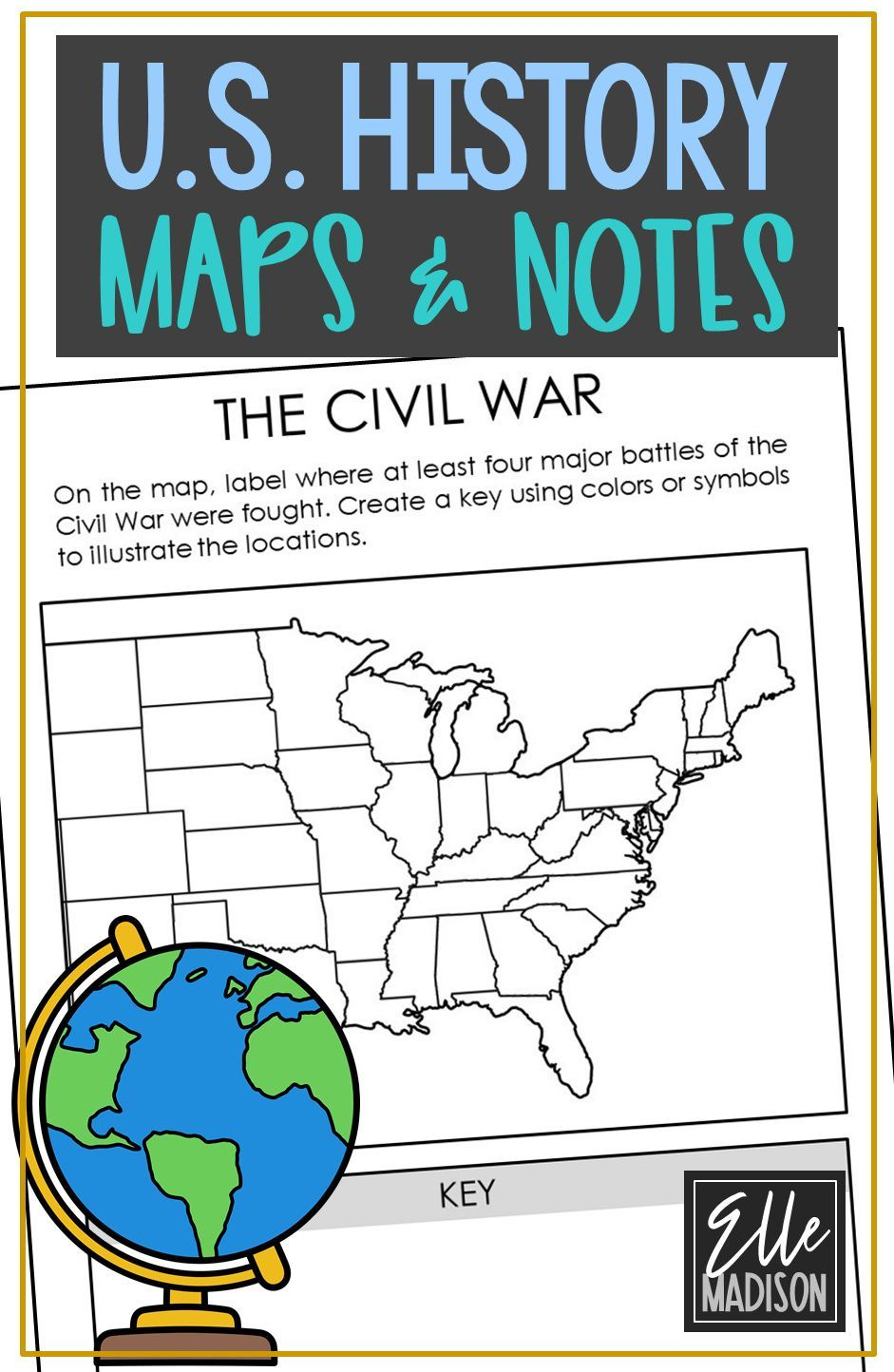 Social Studies Unit Study Us American History Worksheet And Maps Note Pages In 2020 Social Studies Worksheets History Classroom Social Studies