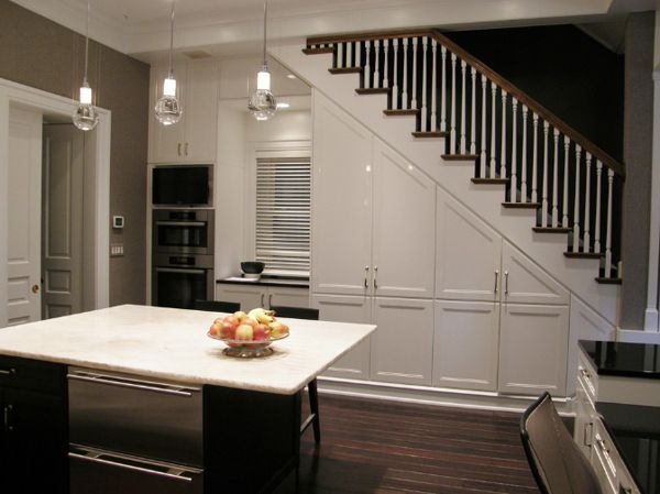 55 amazing space saving kitchens under the stairs space for Kitchen designs under stairs