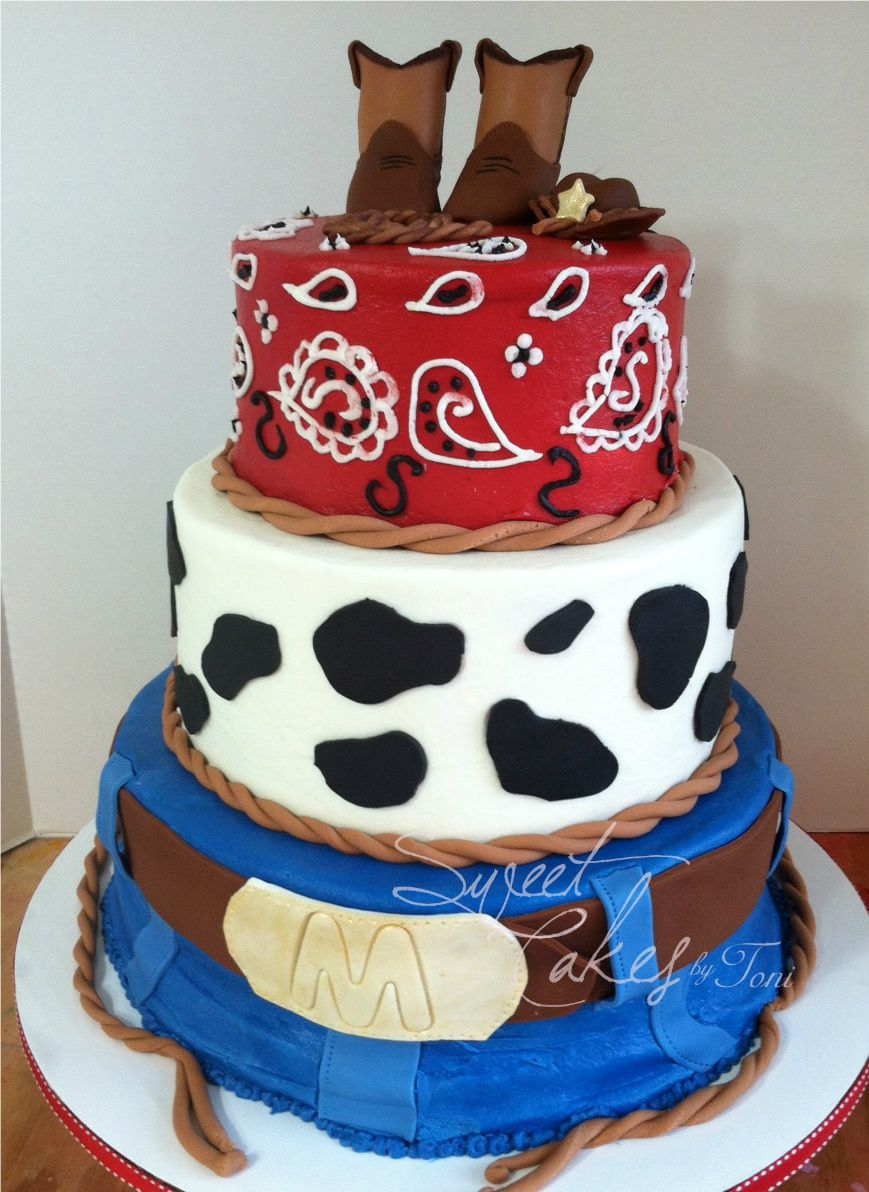 Baby Shower   3 Tier Western Baby Shower Cake