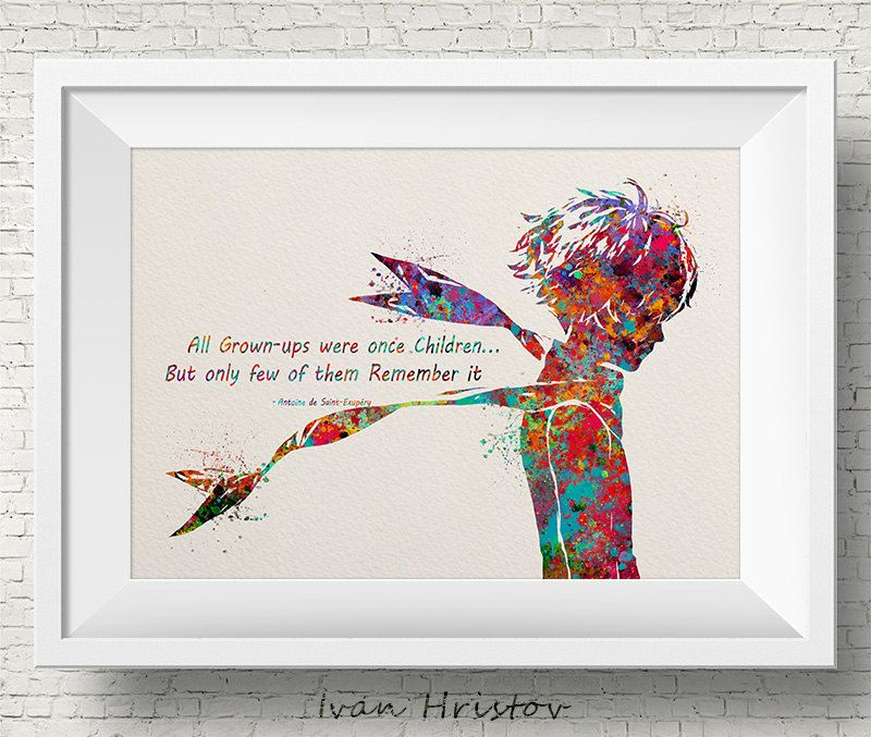 The Little Prince Colorful Inspired Quote Le Petit Prince Watercolor Illustrations Art Print Giclee Wall D The Little Prince Watercolor Illustration Art Prints
