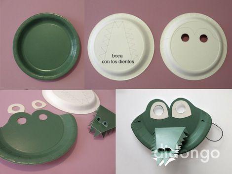 Mascara de cocodrilo con platos desechables
