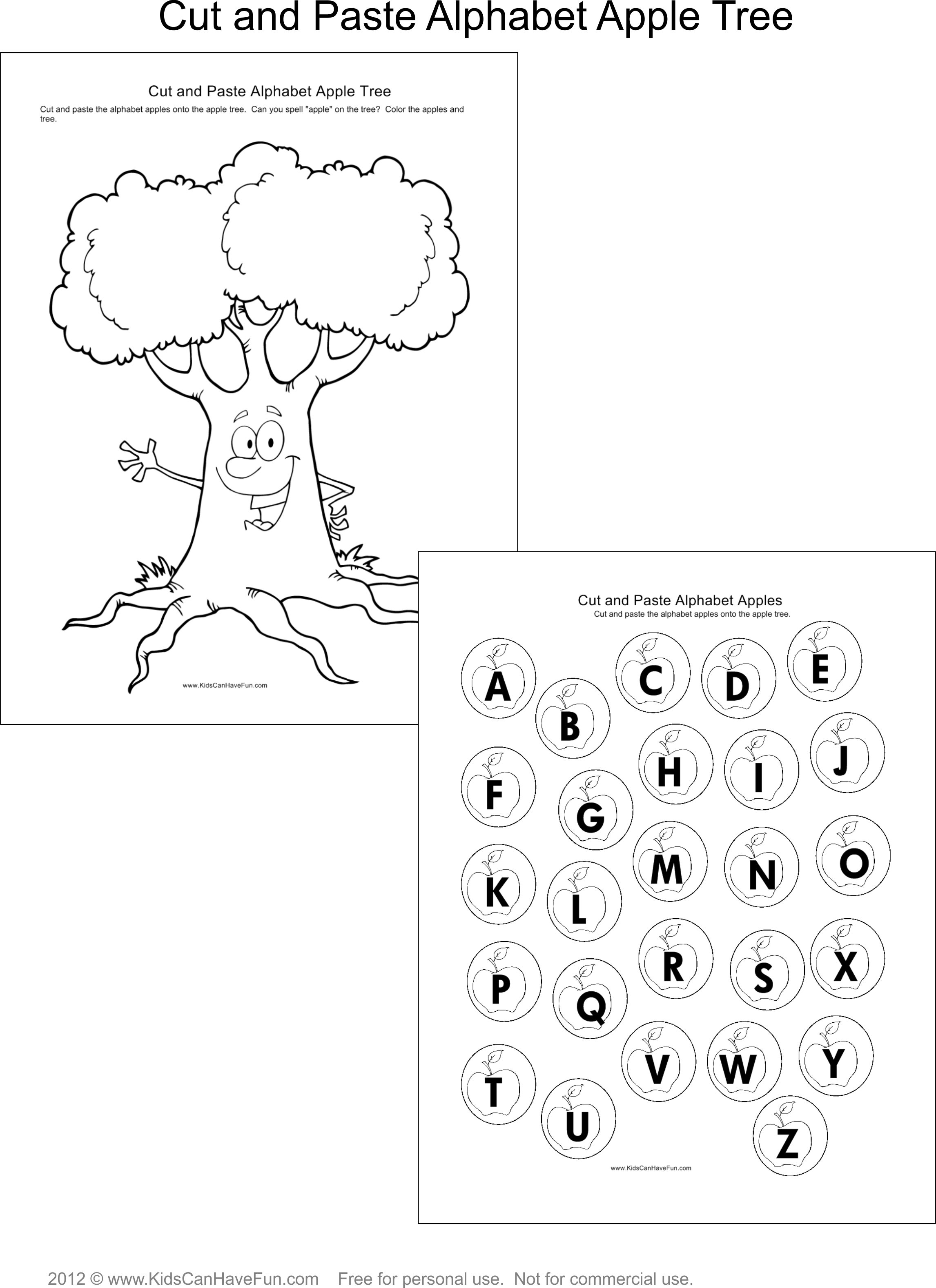 Cut And Paste Alphabet Apple Tree