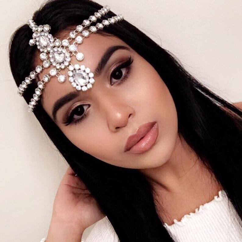 STUNNING 2 layer Kundan stones hair chain head chain hair jewelry Matha patti bride bridal wedding prom glamorous grecian goddess boho glam