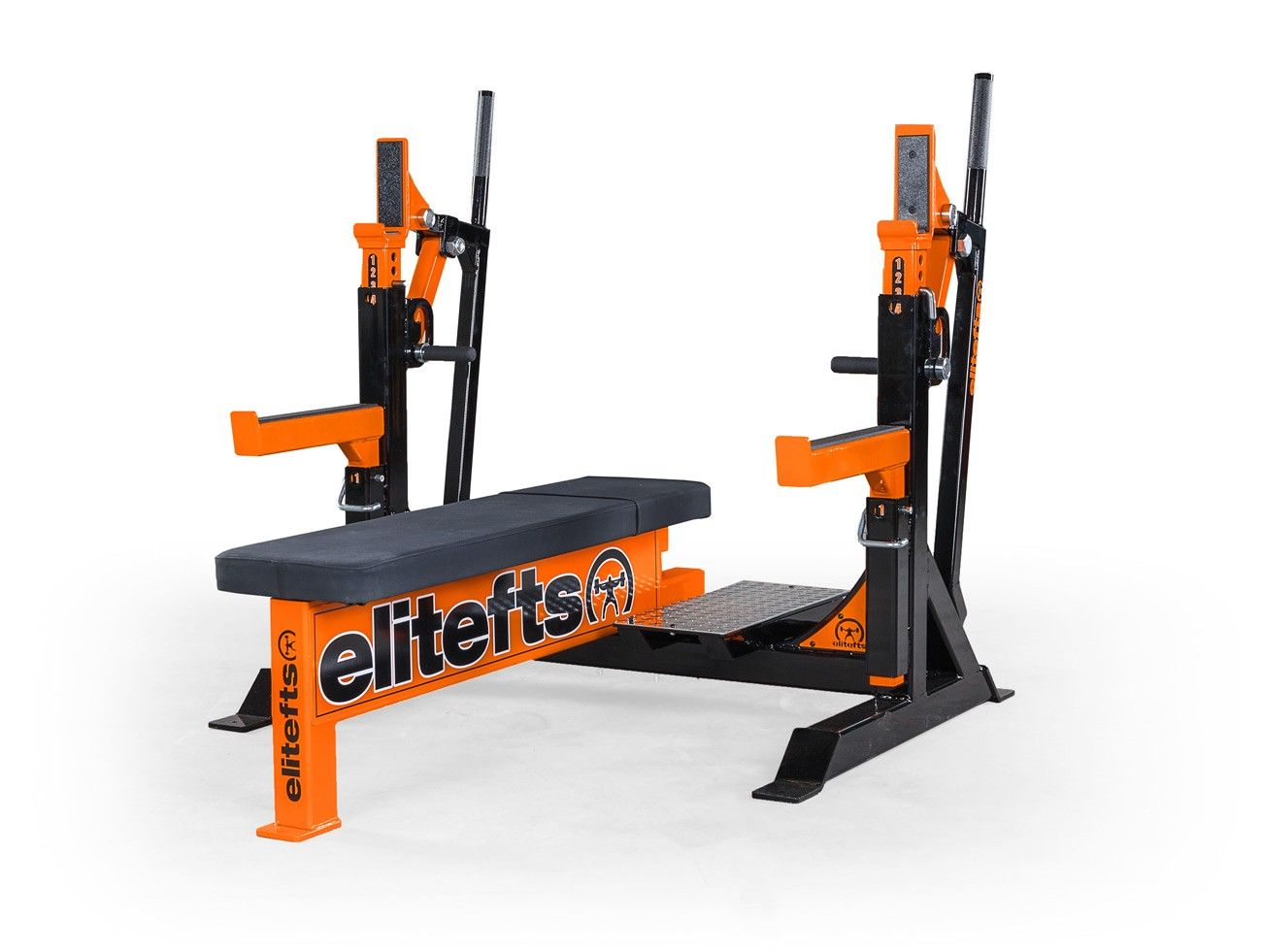 Elitefts Signature Competition Olympic Bench With Safeties Foot Lever And Logo Panels No Equipment Workout Bench Squat Rack