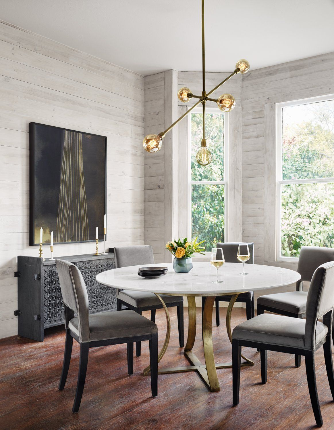 Gage Dining Table Polished White Marble Round Dining Table