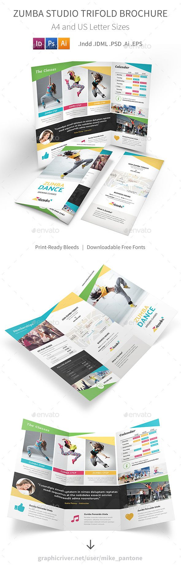 Zumba Studio Trifold Brochure Brochures Brochure Template And - Photoshop tri fold brochure template free