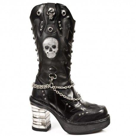 New Rock Punk Negro Cuero Botas M.PUNK063-S1 Fotos gratis de Footlocker Liquidación Cuánto 9mDmmvI