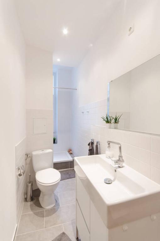Schon Schmales, Aber Supermodern Eingerichtetes Badezimmer Mit Dusche, Toilette,  Waschbecken Und Spiegel. #